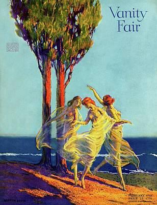 Davis Photograph - Vanity Fair Cover Featuring Three Nymphs Dancing by Warren Davis