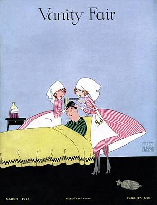 1918 Photograph - Vanity Fair Cover Featuring Two Candy Stripers by Artist Unknown
