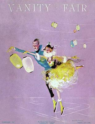 Figure Skating Photograph - Vanity Fair Cover Featuring Two Ice Skaters by Dorothy Ferriss