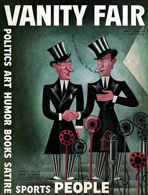Vanity Fair Cover Featuring Two James Walkers Art Print by Miguel Covarrubias