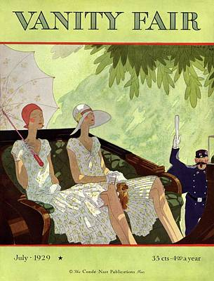 Parasol Photograph - Vanity Fair Cover Featuring Two Women Sitting by Jean Pages