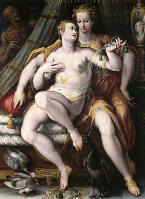 Vanity, Modesty And Death, 1569 Oil On Panel Art Print