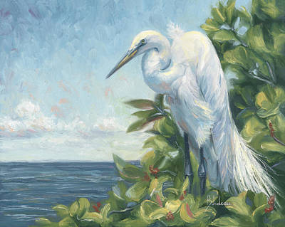 Egret Painting - Vantage Point by Lucie Bilodeau