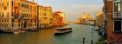 Vaporetto Water Taxi In A Canal, Grand Art Print by Panoramic Images