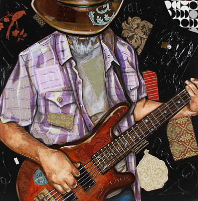 Mixed Media - Vaquero De The Bass Guitar by Katia Von Kral