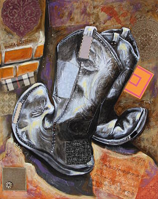 Mixed Media - Vaquero De The Boots by Katia Von Kral