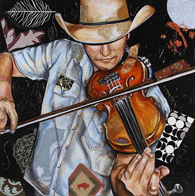 Mixed Media - Vaquero De The Fiddle by Katia Von Kral