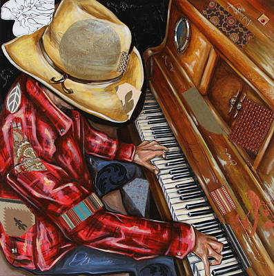 Mixed Media - Vaquero De The Piano by Katia Von Kral
