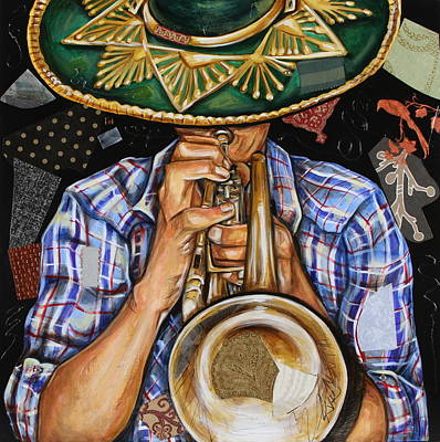 Mixed Media - Vaquero De The Trumpet by Katia Von Kral