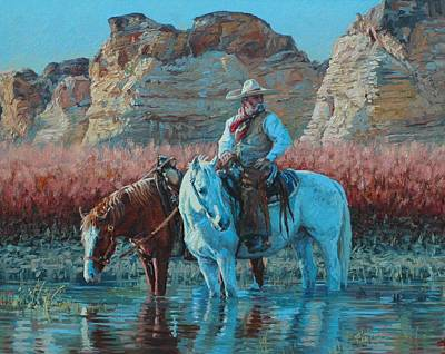 Mexican Horse Painting - Vaquero by Jim Clements