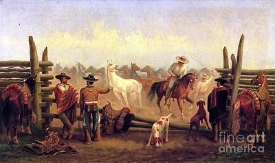 Mexican Horse Painting - Vaqueros In Horse Corral by Pg Reproductions