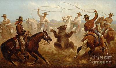 Roping Horse Painting - Vaqueros Roping A Bear by Pg Reproductions