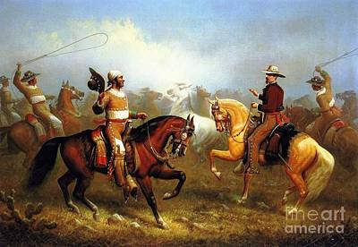 Mexican Horse Painting - Vaqueros Roping Wild Horses by Pg Reproductions