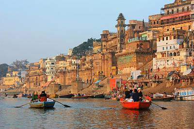 Cremation Ghat Photograph - Varanasi From The Ganges River by Amanda Stadther