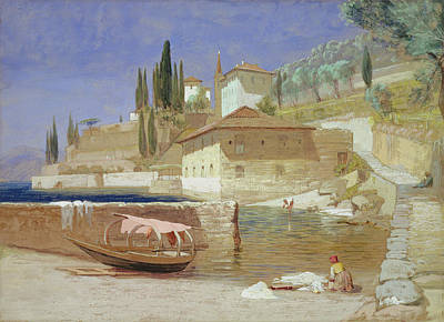 Italian Landscapes Drawing - Varenna, Lake Como by Frederick Lee Bridell