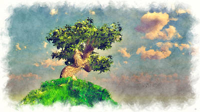 Digital Art - Variation On Tree On A Steep Hill... by Tim Fillingim