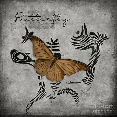Bw Digital Art - Variation Sur Un Meme Theme - S05 Butterfly Gold by Variance Collections