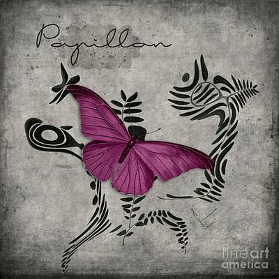 Variation Sur Un Meme Theme - S05 Papillon Pink Art Print by Variance Collections