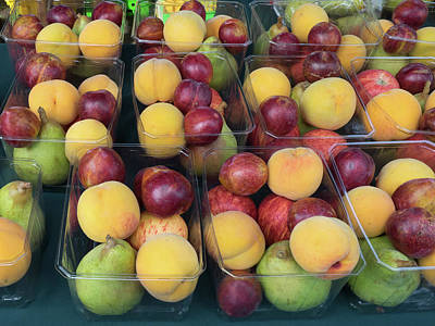 Of Peaches Photograph - Various Fruits For Sale At Street by Panoramic Images