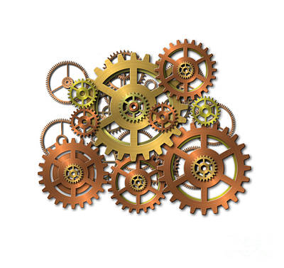 Machine Part Digital Art - Various Gears by Michal Boubin