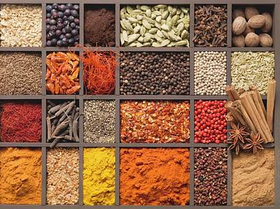 Various Spices In A Type Case Art Print