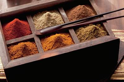 Various Spices In A Wooden Box (arabia) Art Print