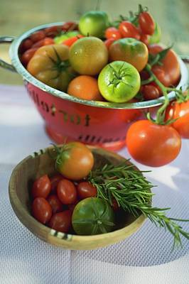 Various Types Of Tomatoes In Wooden Bowl And Colander Art Print
