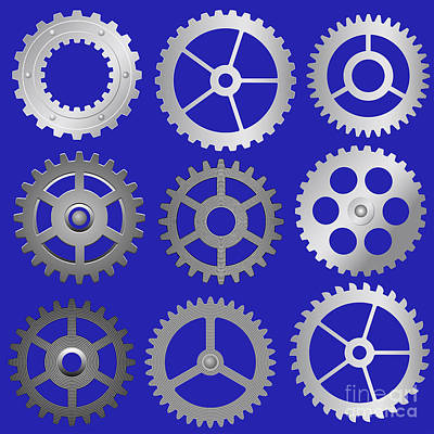 Machine Part Digital Art - Various Vector Gears by Michal Boubin