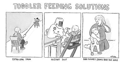 Drawing - Various Ways To Feed A Toddler Without Getting by Emily Flake