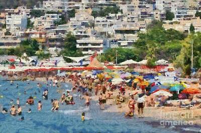 Paint Painting - Varkiza Beach by George Atsametakis