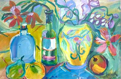 Painting - Vase And Bottles In Still Life by Brenda Ruark