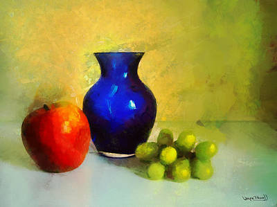 Vase And Fruits Art Print by Wayne Pascall