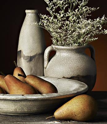 Studio Photograph - Vase Bowl Pears by Patrick Chuprina