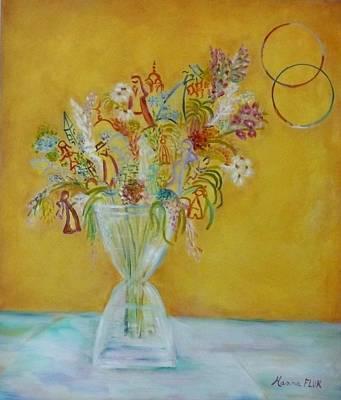 Vase Flowers Art Print by Hanna Fluk