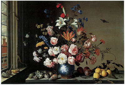 Vase Of Flowers By A Window Print by Balthasar Van Der Ast
