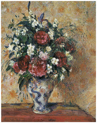 Vase Of Flowers Print by Camille Pissarro