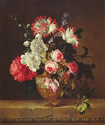Chrysanthemum Wall Art - Painting - Vase Of Flowers by Gerard van Spaendonck
