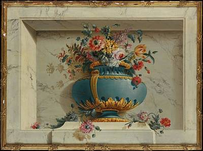 Bruno Painting - Vase Of Flowers In A Niche by Attributed to Michel Bruno Belleng�