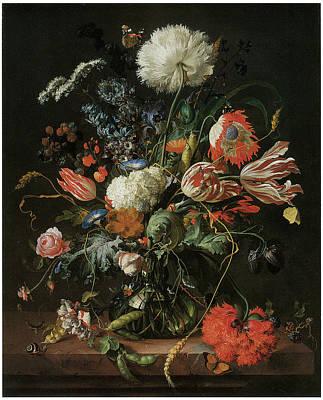 Vase Of Flowers Print by Jan Davidsz De Heem