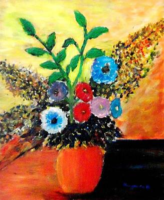 Vase Of Flowers Art Print by Mauro Beniamino Muggianu