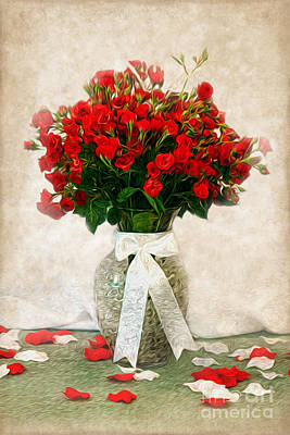 Photograph - Vase Of Red Roses by Lena Auxier