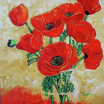 Flower Still Life Mixed Media - Vase Of Red by Vickie Warner
