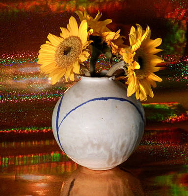Photograph - Vase Of Sunflowers by Grace Dillon
