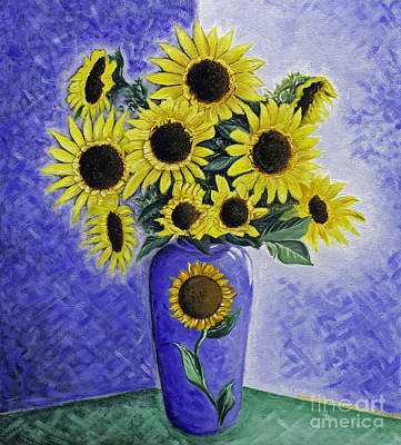 The Price Is Right Painting - Vase Of Sunflowers by Leslie Bell
