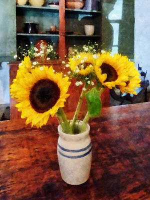 Photograph - Vase Of Sunflowers by Susan Savad