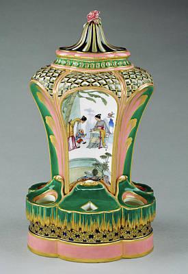 1754 Painting - Vase Pot-pourri Fontaine Ou à Dauphin Painted Decoration by Litz Collection