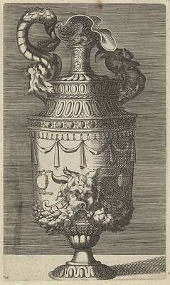 Caravaggio Drawing - Vase With A Mask, Garlands And Two Crabs by Frederick de Wit