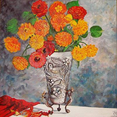 Vase With Bird Art Print by Nina Mitkova