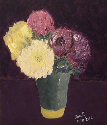 Painting - Vase With Chrysanthemums by Manuela Constantin