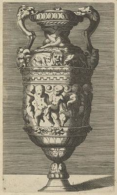 Vase With Dancing Putti Print by Frederick de Wit